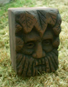 Green Man Head Carving